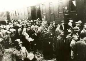 Prisoners from the first transport to KL Auschwitz at the train station in Tarnów